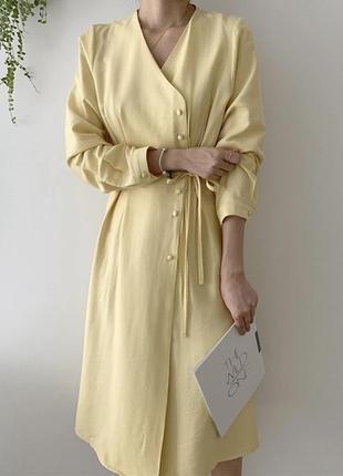 Тренд платье миди с пуговицами на запах бежевое золото пастель...