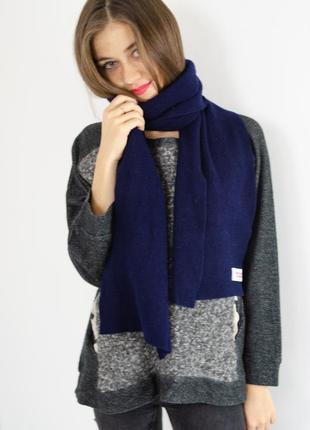 Benetton темно синий длинный большой шерстяной шарф унисекс (ж...