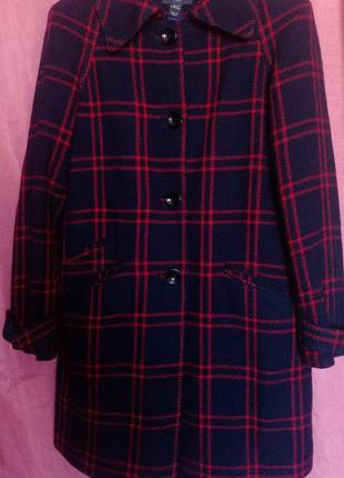 Шерстяное пальто в клетку, клетчатое пальто