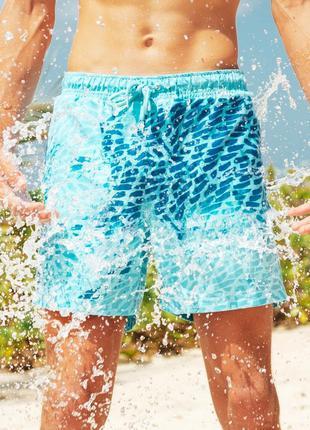 Шорты хамелеон для плавания, пляжные мужские спортивные шорты СИН