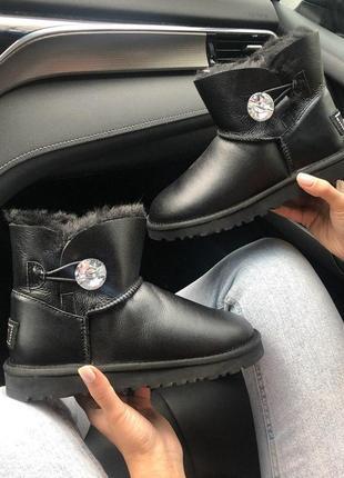Ugg bailey button black! женские кожаные зимние угги/ сапоги/ ...