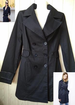 Модный чёрный тренч парка жакет пиджак кардиган плащ