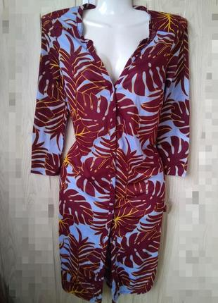Удобное платье рубашка туника h&m /размер s/ принт тропические...