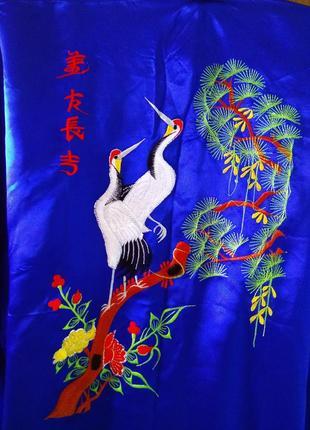 Шикарный атласный халат кимоно с вышивкой унисекс