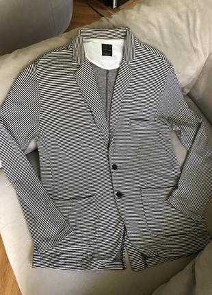 Мужской трикотажный пиджак в полоску кофта zara