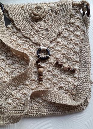 Женская вязаная сумка через плечо
