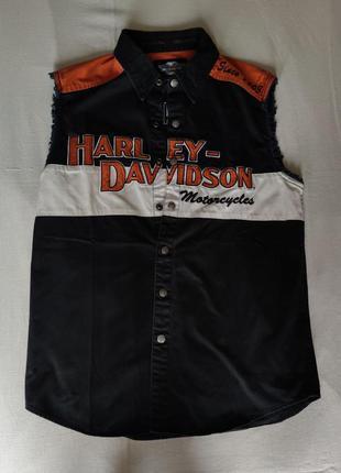 Чёрная рубашка жилет harley davidson. m