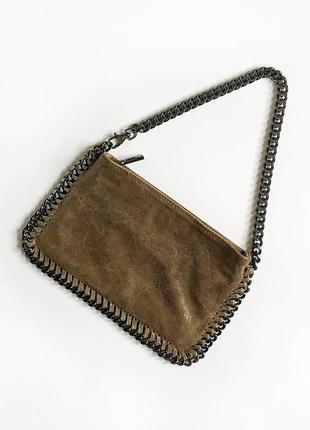 Обалденная натуральная кожаная сумка багет genuine leather