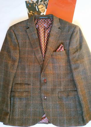 Пиджак мужской в клетку шерсть Next Tailoring піджак чоловічий