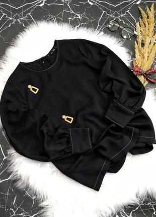 Блузка рукав-фонарик с контрастной белой строчкой f&f ❗новогод...