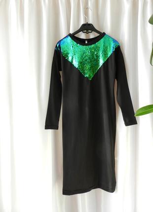 Платье пайетка  длинна миди на флисе