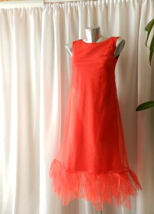 Красивое платье а силуэт с фатином сетка двухслойный волан рюш...