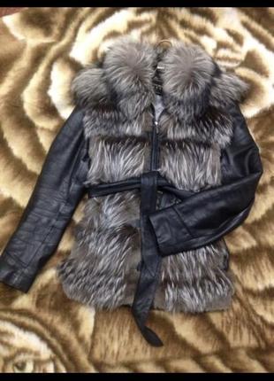 Куртка - жилетка с мехом (трансформер) кожа и чернобурка. нату...