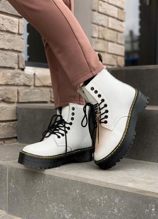 Dr. martens jadon white женские зимние ботинки мартинс с мехом...