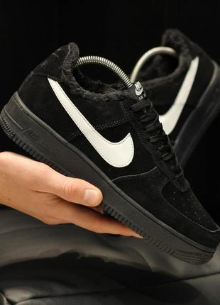 Nike air force 1 low black winter зимние мужские кроссовки с м...