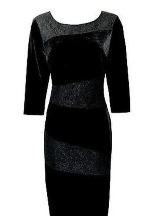 Черное велюровое бархатное платье с кружевом стрейчевое батал ...