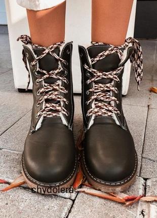 Натуральные кожаные ботинки шоколад