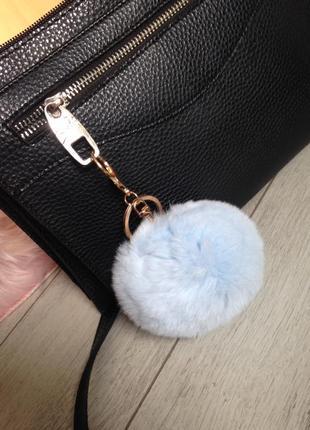 Большой брелок бубон из натурального меха на рюкзак портфель с...