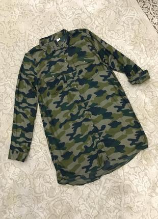 Удлиненная рубашка туника камуфляж h&m