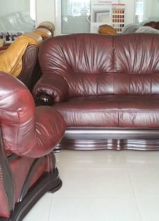 Комплект кожаной мебели диван и два кресла