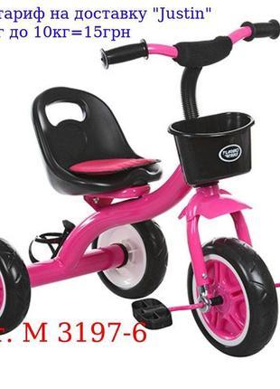 Велосипед M 3197-6 три кол, EVA, передн, корзинка, бутылка, на...