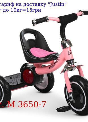 Велосипед M 3650-7 три кол, EVA, свет / муз, зад, подножка, на...
