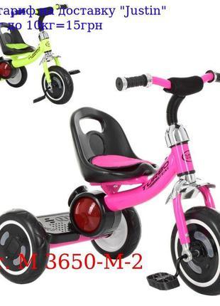 Велосипед M 3650-M-2 три кол, EVA, свет / муз, зад, подножка, ...