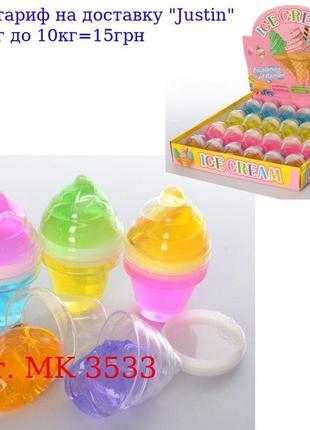 Лизун MK 3533 желейный, колба (мороженое) 6, 5 см, 24шт (4цвет...