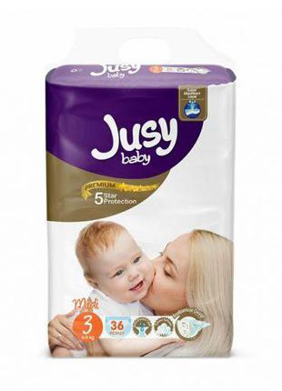 """Детские подгузники """"Jusy midi"""" 3 (4-9 кг) Jmidi36"""