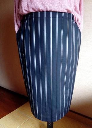 Юбка карандаш в полоску на подкладке большого размера