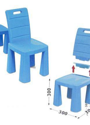 Пластиковый стульчик-табурет (синий) 04690/1