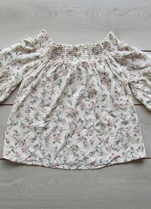 Акция на лето №100 цветочная футболка блуза со спущенными плеч...