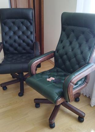 Нове крісло зі шкіри честерфілд, для деректора, новое кресло кожа