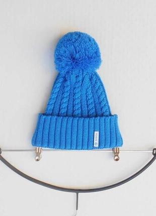 Зимняя осенняя вязаная шерстяная  шапка с помпоном с бубоном