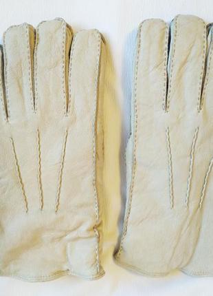 Перчатки мужские зимние кожаные меховые серые debenhams