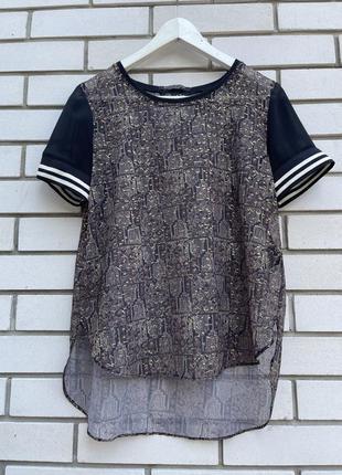 Шифоновая комбинированная  блузка футболка с принтом maison sc...