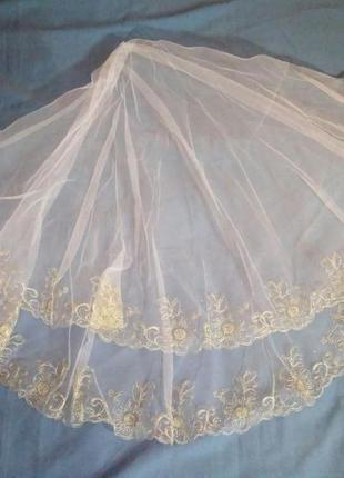 Фата свадебная,  весільна з золотою вишивкою