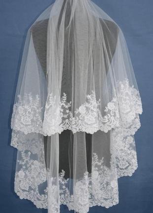 Свадебный наряд, фата невесты, фата с кружевом