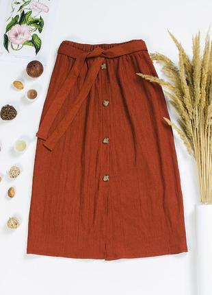 Юбка миди коричневая, прямая юбка ниже колена