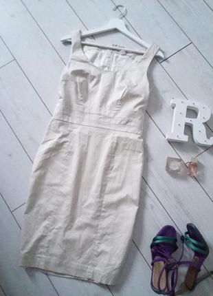 Лаконичное платье футляр миди,молочный цвет..# 426