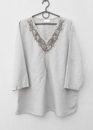 Летняя удлиненная льняная блузка лен хлопок с вышивкой бисером...