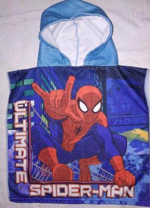 Яркое детское полотенце-пончо spider-man