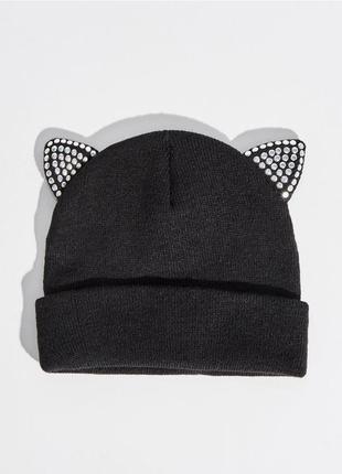 Новая черная шапка польша кошачьи уши ушки заклепки нэкомими а...
