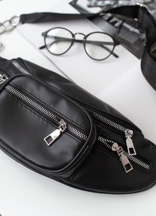 Черная кожаная бананка ретро поясная сумка с цепью сумка на по...