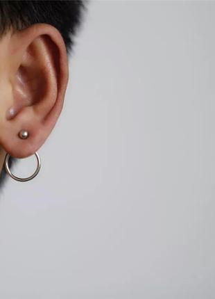 Стильные серьги кольца серебристые серебряные маленькие минима...