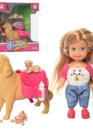 Кукла K899-91 (48шт) 12см, собака 10,5см, щенки 3шт, бутылочка...