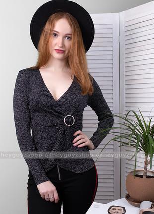 🌺 скидки 🌺 кофта блузка гольф с декольте черная с люрексом с в...