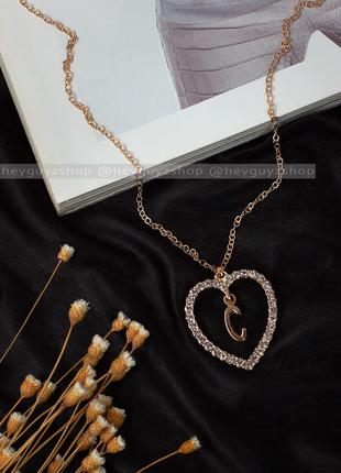 """Трендовый золотой кулон сердце с буквой """"с"""" на цепочке подвеск..."""