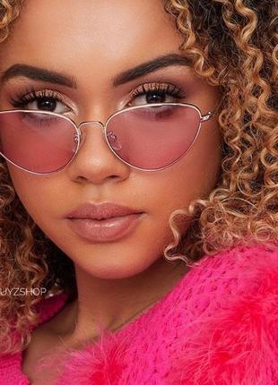 Солнцезащитные очки кошечки кошачий глаз розовые стеклянные со...