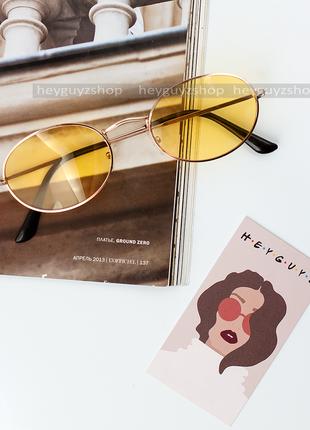 Солнцезащитные очки желтые стеклянные овальные в стиле ray ban...